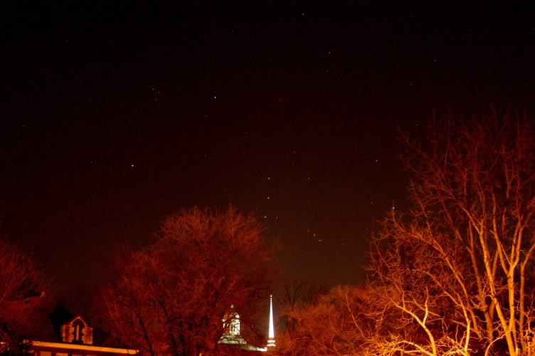 The constellation Orion over Weaver Chapel