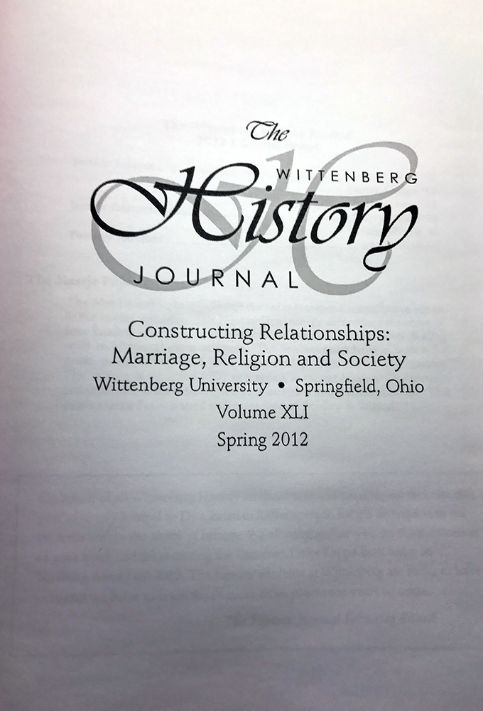 2012 History Journal Cover