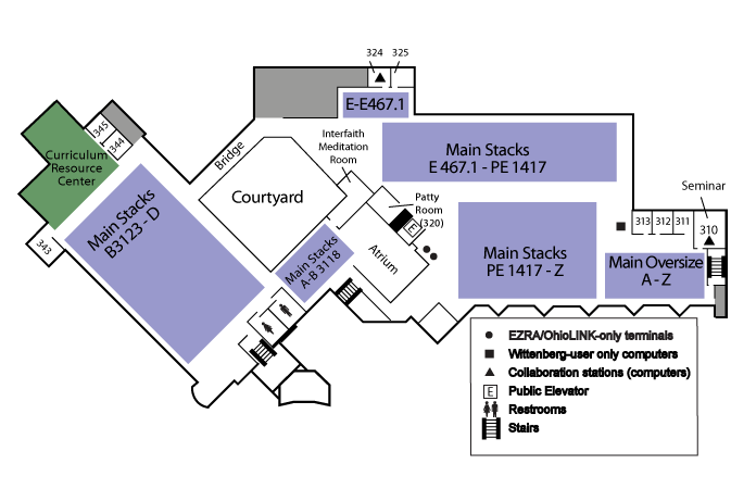 Map of Library Third Floor (Upstairs)