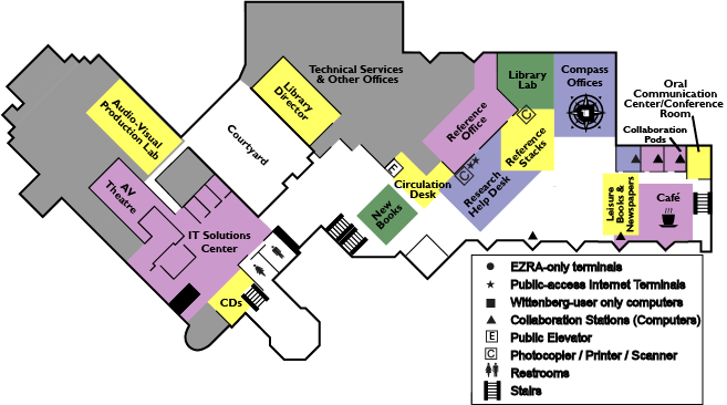 Map of Library Second (Main) Floor