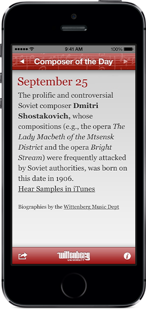iPhone app Composer of the Day