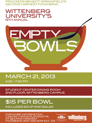 wittenberg to host 19th annual empty bowls fundraiser