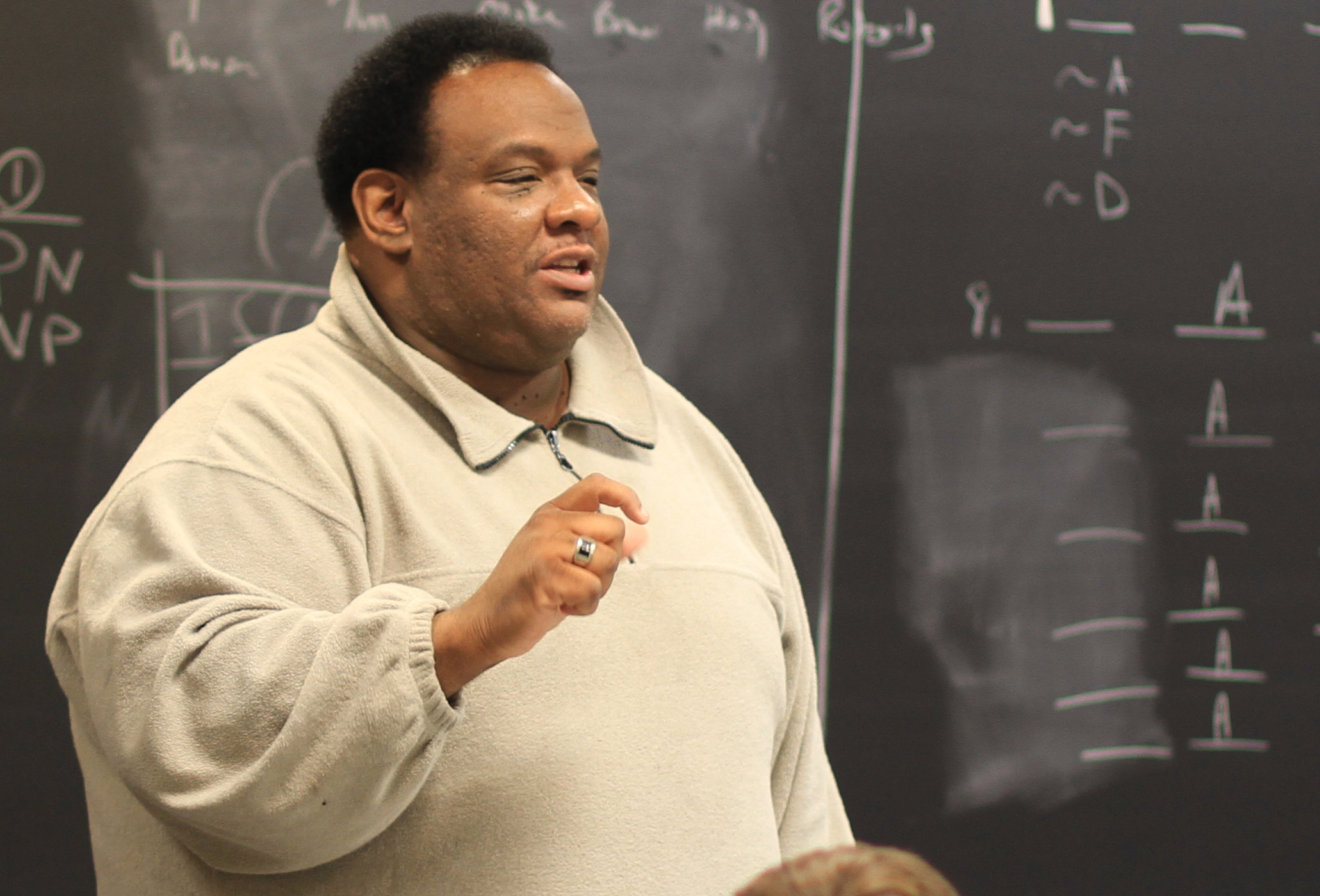 Dr. Julius Bailey in logic class, February 2012
