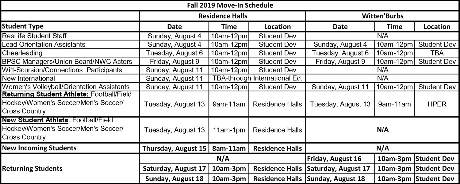 2019 Fall Move-In Schedule
