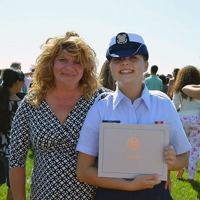 Mary-Elizabeth Pratt '15 and her mother at Coast Guard graduation