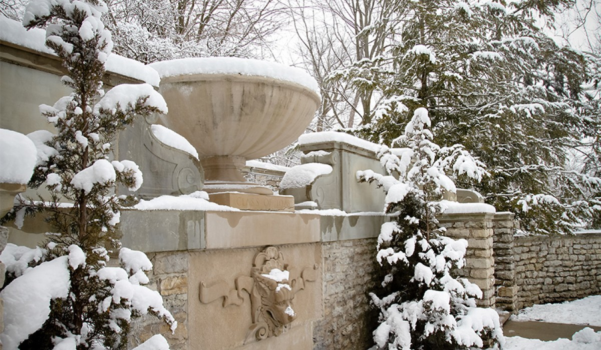 Fountain in the snow