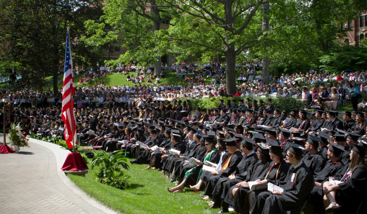 Graduates seated in Commencement Hollow