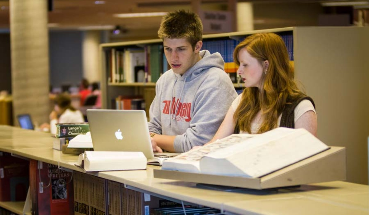 Students in Thomas Library