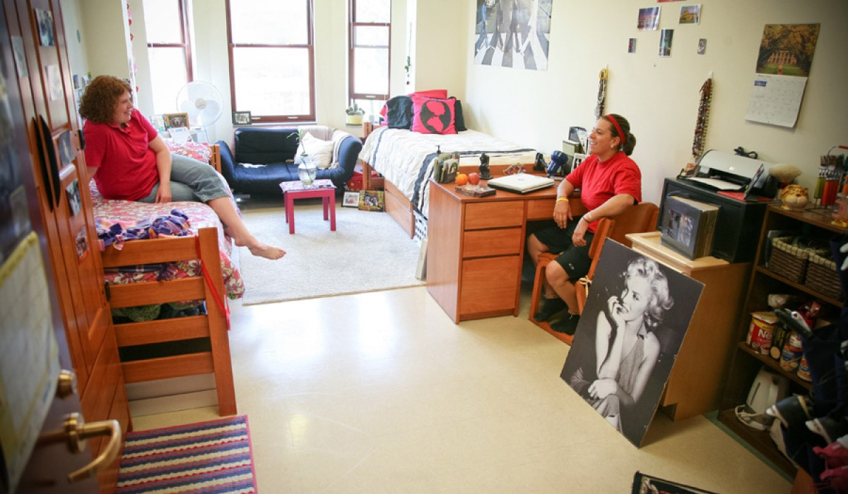 New Residence Hall furnished room with two students