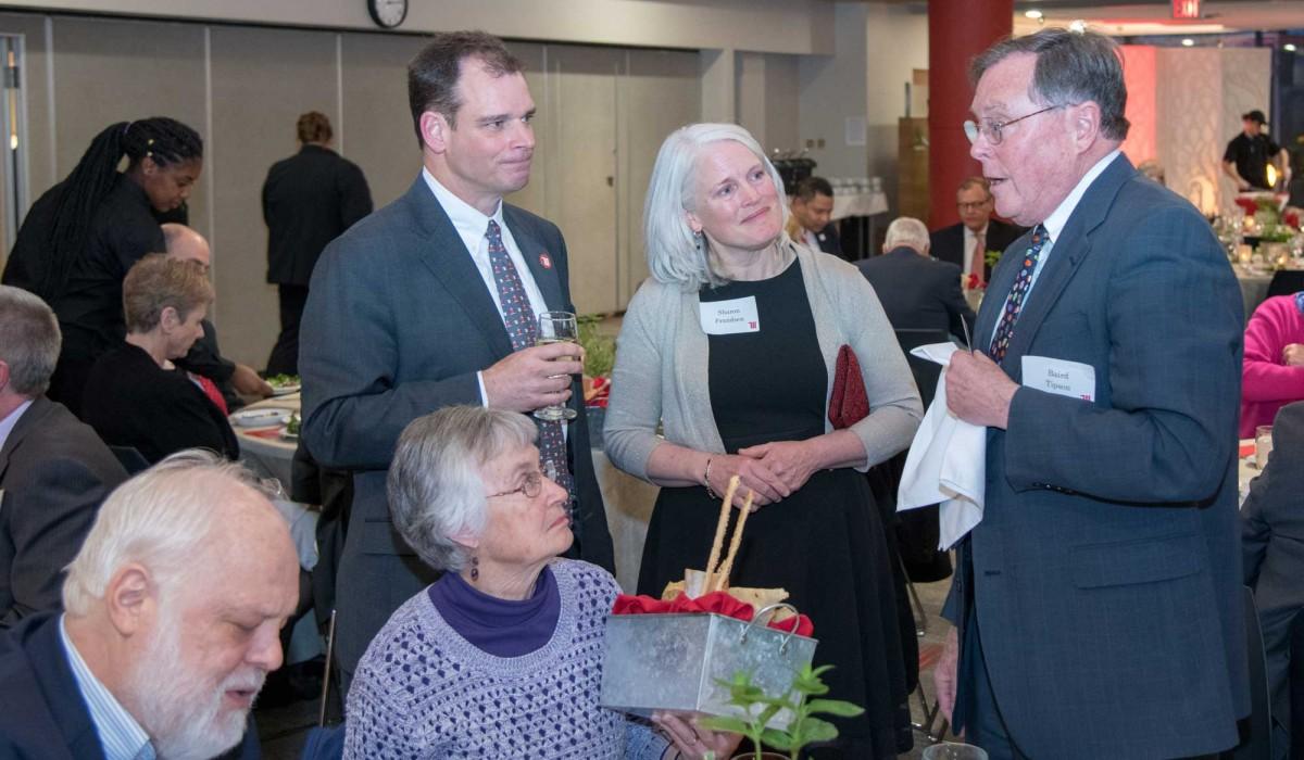Former President Baird Tipson with President Michael Frandsen and Sharon Frandsen