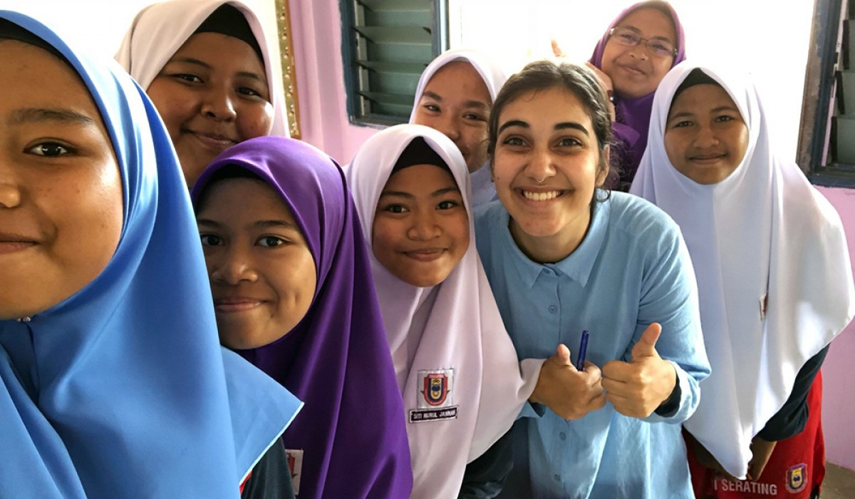 Maria Symons with her students in Malaysia