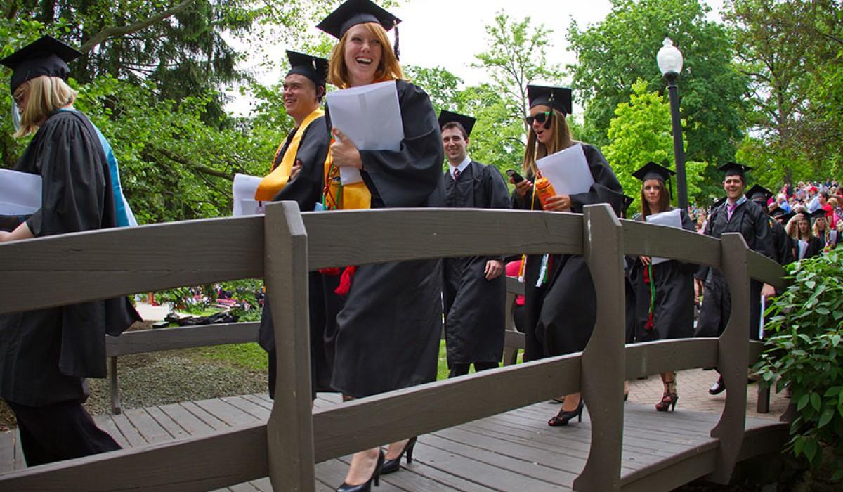 Graduates walking on kissing bridge