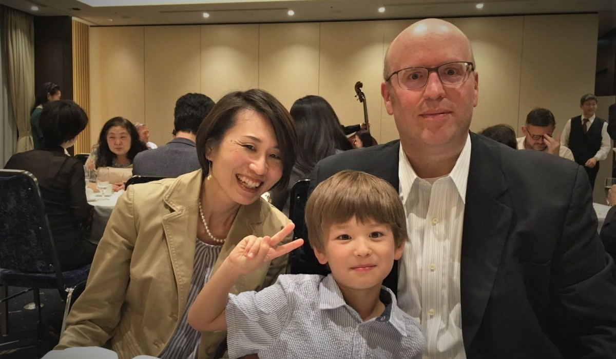 Peter Tyksinski and his wife, Mari Fujita, and son, Teo