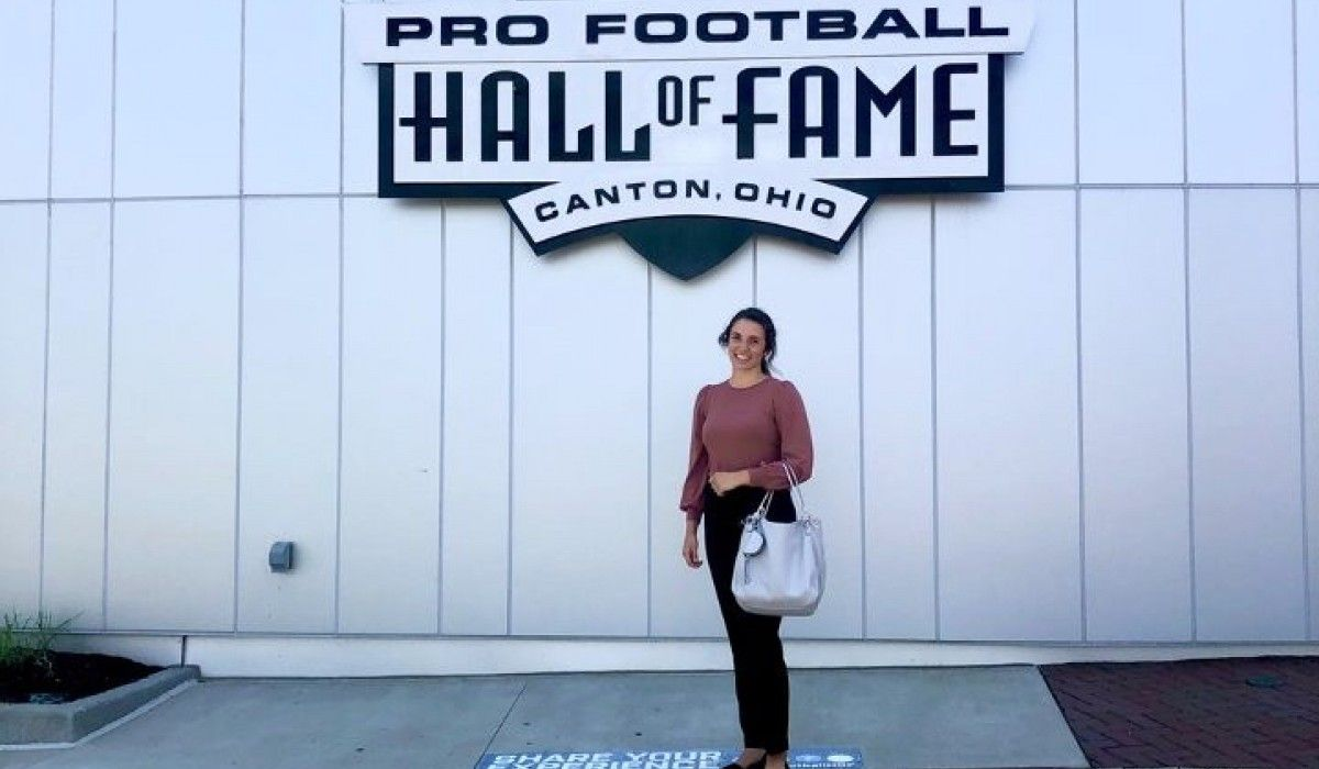 Katie Hiestand '22 at the Pro Football Hall of Fame